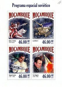 Russe Programme Spatial (gagarine/korolev/chiens) Timbre Feuille (2013 Mozambique)-ev/dogs) Stamp Sheet (2013 Mozambique)fr-fr Afficher Le Titre D'origine