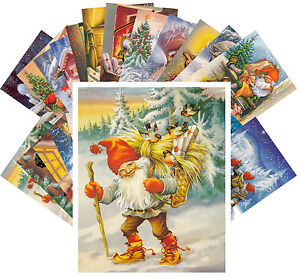 Postcards-Pack-24-cards-Vintage-Christmas-Gnomes-by-Lars-Carlsson-CC1116