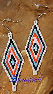 -indianer Ohrhänger Aus Glasperlen Rautenform Aus Peru Clear-Cut-Textur
