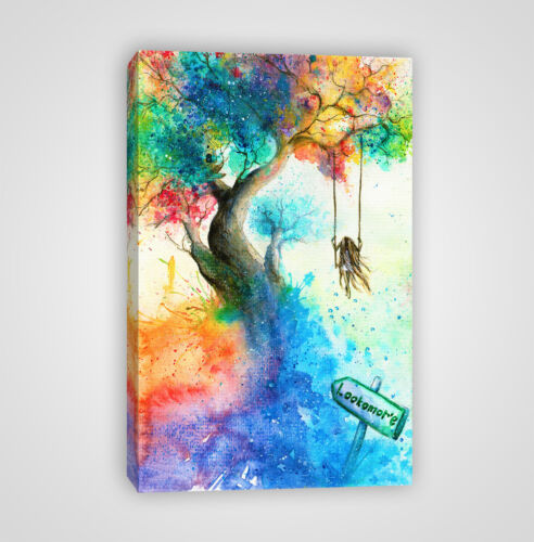 YC22 Girl on a Tree Swing in Fantasy Wonderland Framed Canvas Print