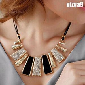 New-Fashion-Women-Pendant-Chain-Crystal-Choker-Chunky-bib-Necklace-Jewelry