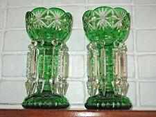 Emerald Green Vintage Bohemian Mantle Lusters Cut Glass Spear Prism Estate Fresh