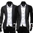 Knit Cardigan Stripe Color Top Long-sleeve Knitwear Slim Fit Fashion Men's Suits