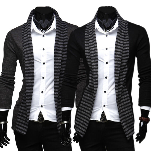 Spring Stripe Color Men's Leisure Long-sleeved Knitted Cardigan Black/Dark Gray