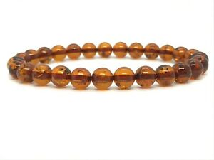 AMBER-BRACELET-Natural-BALTIC-AMBER-Round-Beads-Polished-Elastic-Ladies-5g-12697
