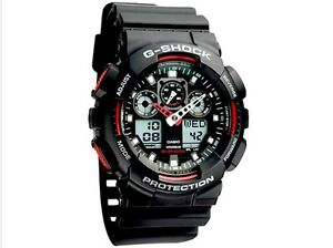 8c156b1380e8 CASIO G-SHOCK Black RED GA-100-1A4ER Mens Combi Watch  NEW  gshock ...