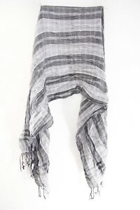 Besorgt Ladies Black/monochrome Striped Tasseled Silver Infsued Statement Scarf ms39 Kleidung & Accessoires