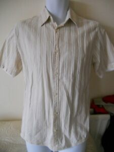 Next-Vintage-Cream-Brown-Striped-Short-Sleeved-shirt-size-Small