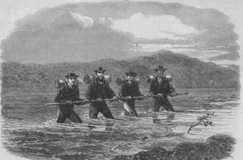 NEW ZEALAND. Crossing the river Teramakau, antique print, 1865