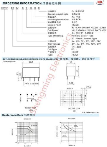 10PCS HK19F-DC 12V-SHG courant continu 12 V Bobine Double Pole Double Throw 8 broches 2NO 2NC Carte De Circuit Imprimé Mini Relais de puissance