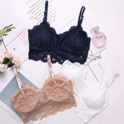 Women Lace Floral Trim Bralette Crop Top Push Up Bra Underwear Lingerie Best HQ