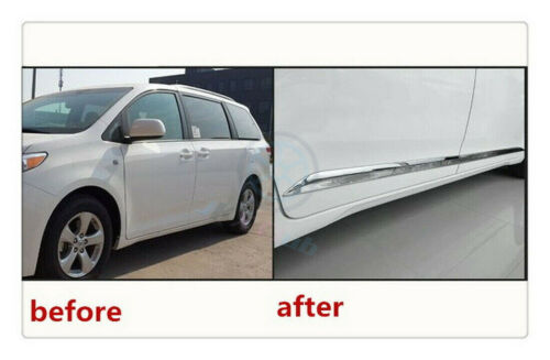 For Toyota Sienna MPV 2011-2019 4* Bright ABS Body Side Door Molding Cover Trims