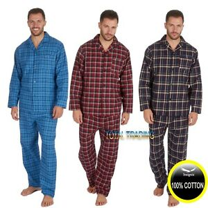 Mens-Traditional-Pure-100-Cotton-pyjamas-winter-WARM-flannel-M-5XL-pjs