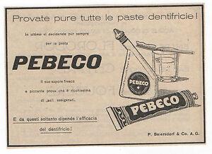 Pubblicità vintage PEBECO DENTIFRICIO FARMACIA advertising werbung publicitè - Italia - Pubblicità vintage PEBECO DENTIFRICIO FARMACIA advertising werbung publicitè - Italia