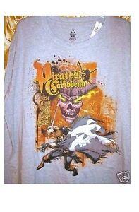 Disney-PIRATES-OF-THE-CARIBBEAN-Shirt-LONG-Sleeve-Skull-amp-Jack-Sparrow-NWT-Curse