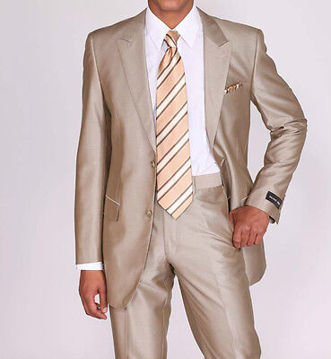 Men's Luxurious Two Button Slim Fit Wool Feel Suit 57021B Solid Tan (Beige)