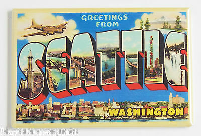 Greetings from Seattle FRIDGE MAGNET state WA travel souvenir vintage-style