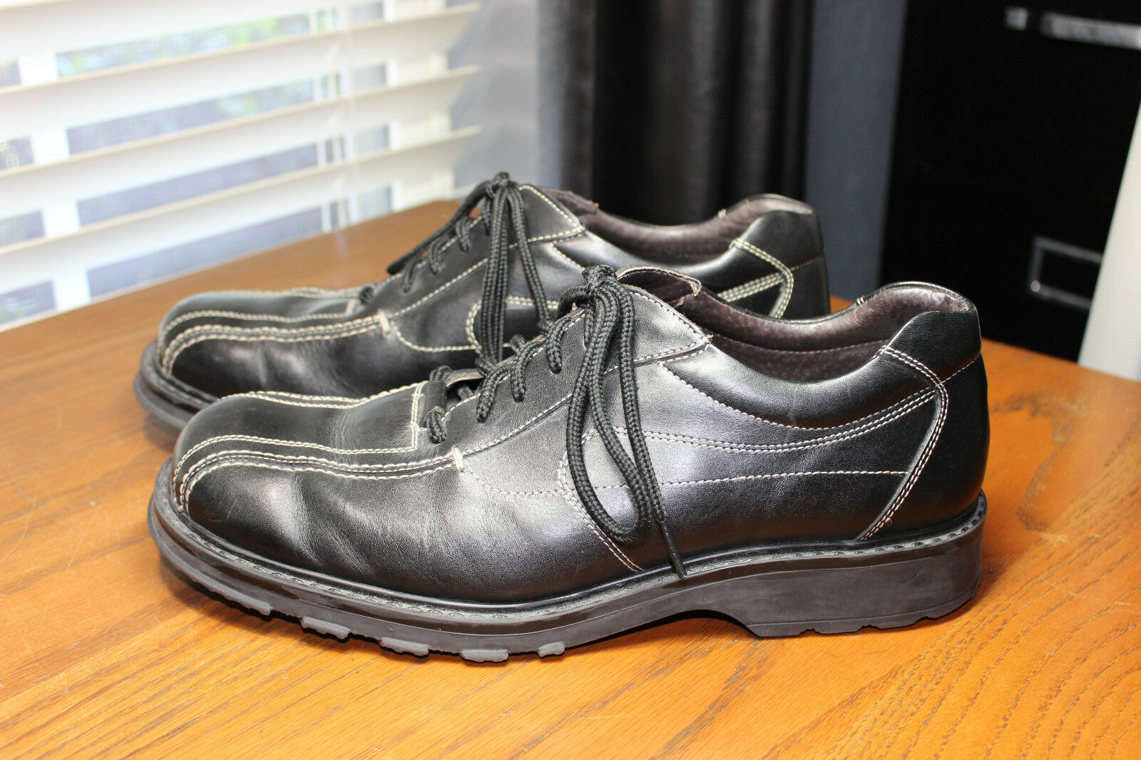 BASS schwarz ITALIAN LEATHER RAKE RAKE RAKE OXFORDS Größe 10.5 DRESS LACE UP MINOR WEAR e86476