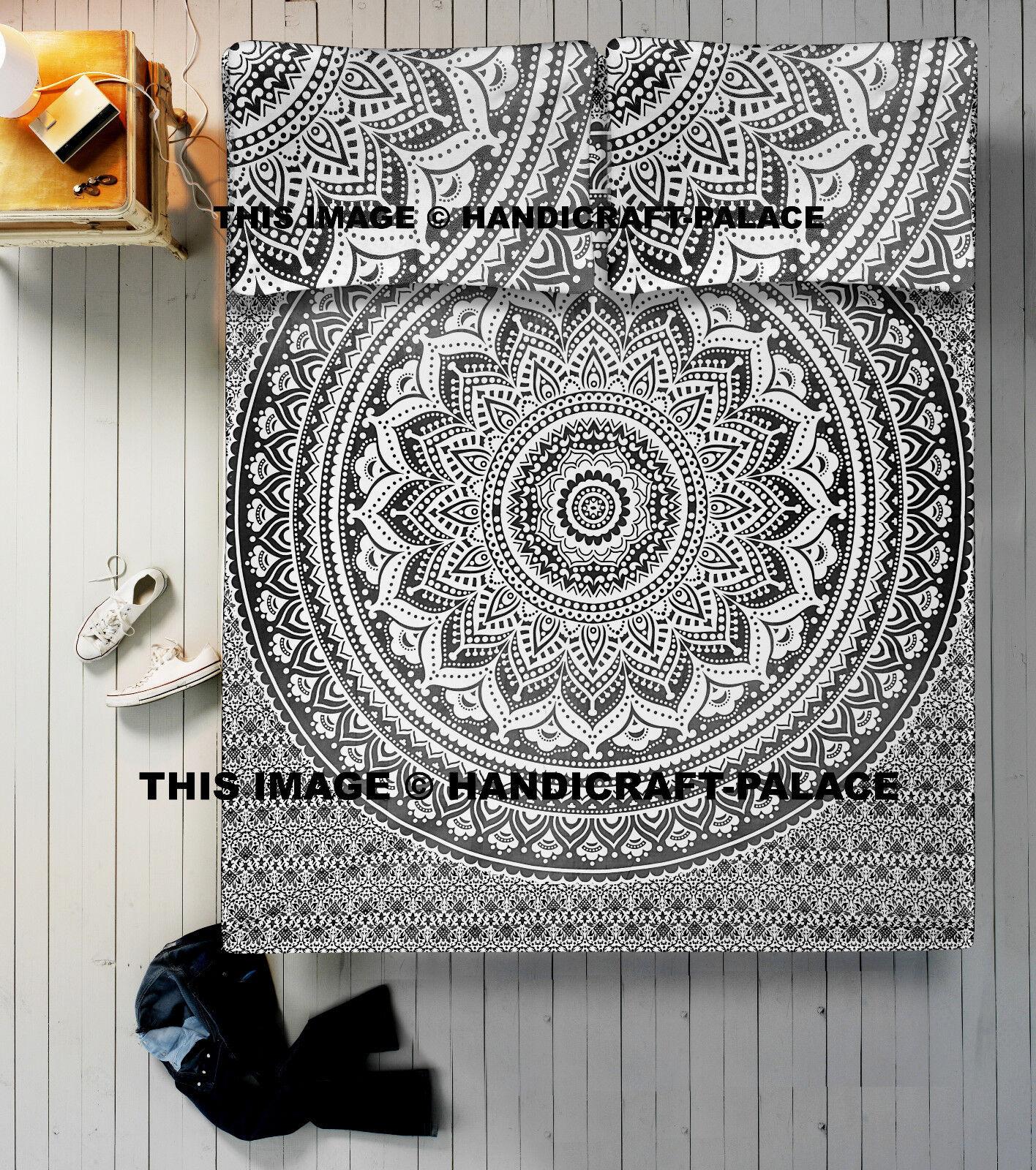 Queen Size Indian Ombre Mandala Bedding Set Throw Boho Hippie Bohemian Bed Sheet