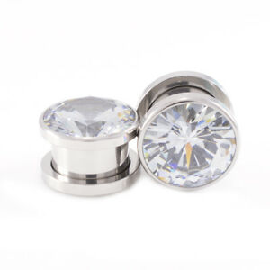 Ear-Plugs-Tunnels-Pair-of-Screw-Fit-with-Cubic-Zirconia-Stone-Surgical-Steel