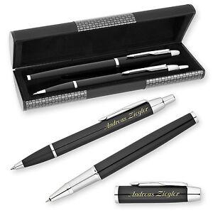 2-teiliges Schreibset mit Gravur Kugelschreiber und Roller schwarz