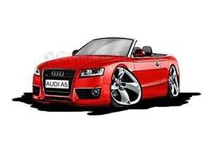 Audi A5 Cabriolet Red Caricature Car Cartoon A4 Print Ebay