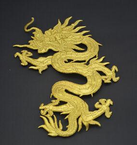 Golden-Gold-Chinesischer-Drache-18cm-7-039-bestickt-Naehen-Buegel-Patch-Applikation