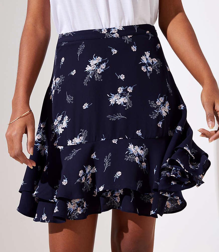 Ann Taylor LOFT Wildflower Print Flounce Skirt Size 14 - NEW