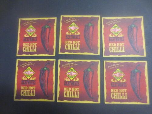 """pepper steak/"""" collectable COASTERS 6 x SMITH,S POTATO CRISPS /""""red hot chilli"""