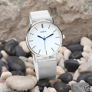 Mode-Geneve-Damenuhr-Edelstahl-Analog-Quarz-Armbanduhren-Silber