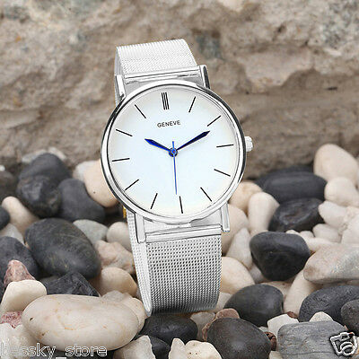 Fashion Geneve Women's Watch Stainless Steel Analog Quartz Wrist Watches Silver