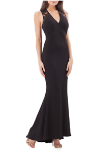 NEW-JS-Collections-Sleeveless-Mesh-V-Neck-Gown-in-Black-Size-6-D2856