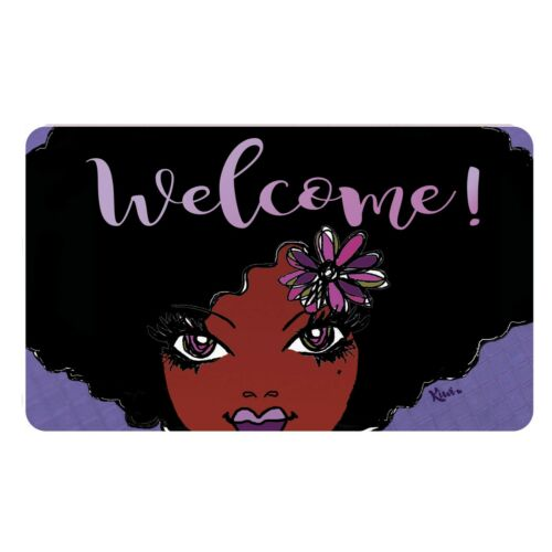 Welcome African American Woman Interior Floor Mat ~ Artist Kiwi McDowell