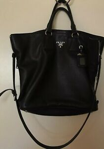 3c769ad2695b EUC Black Prada Women's Vitello Phenix BN2419 Tote Bag Handbag Purse ...
