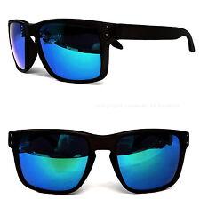 Wayfarer Sonnenbrille Schwarz Matt Blau Verspiegelt Polarisiert Rechteckig PWF