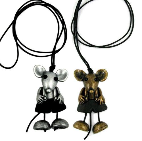 Maus altsilber oder altmessing Collier Kette 90 cm