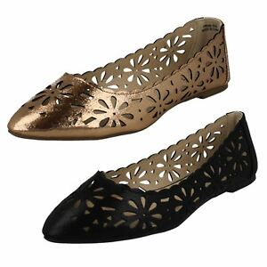 76d7c34b4dd F8R0390 LADIES FLAT POINTED TOE FLORAL FLATS CASUAL EVENING METALLIC ...