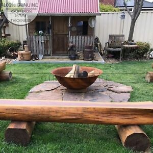 Rustic Fire Pit 100cm Rustic Outdoor Fireplace Thick Cast Iron Heavy