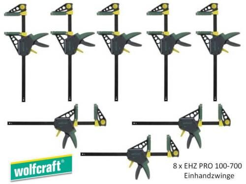 Einhandzwinge Schraubzwinge Schraubzwingen 8 Stück Wolfcraft EHZ PRO 100-700