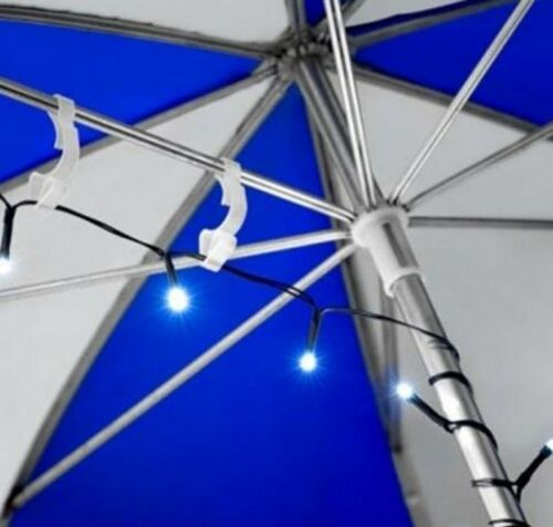 20 Parasol lights with Clips for Hanging Battery Operated cool White 195cm