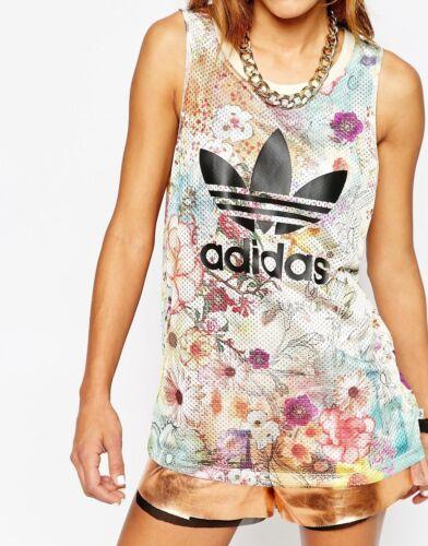 Uk floreale 503 stampa Canotta Size 12 con vibrante Originals Novità 14 W Adidas Top wOXzqc