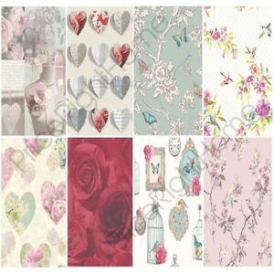 Schön Das Bild Wird Geladen Shabby Chic Blumen Tapete  In Verschiedenen Designs Wand