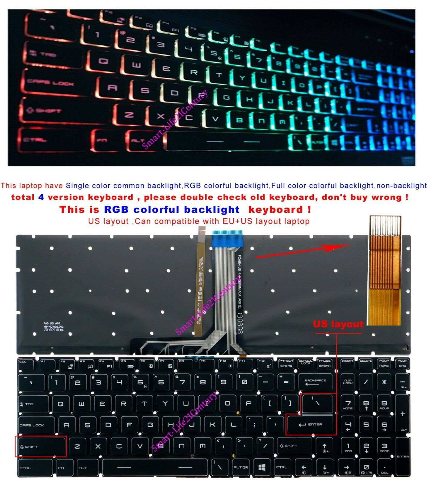 New For MSI GS60 GS70 GT72 GL62 GS63 US Keyboard RGB Colorful Backlit Crystal