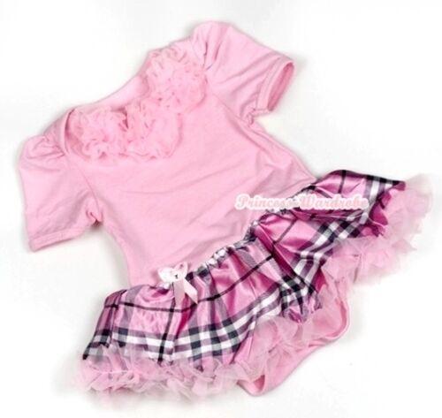 Light Pink Jumpsuit Pink Rosettes Romper Baby Girl Dress Pink Plaid Skirt NB-12M