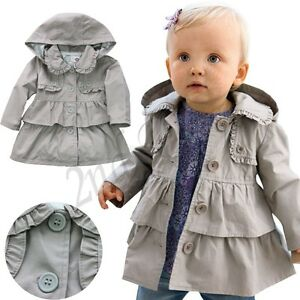 0c54a67c9d71 Girls Kids Trench Coat Wind Jackets Hooded Clothes Outwear Autumn ...