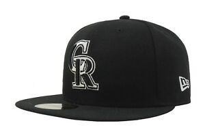 New-Era-59Fifty-Hat-MLB-Colorado-Rockies-Basic-Mens-Black-White-Fitted-Cap