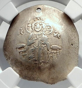 MANUEL-I-Ancient-Byzantine-ELECTRUM-Trachy-Coin-JESUS-CHRIST-MARY-NGC-i80640