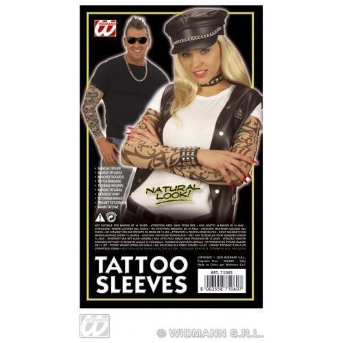 Pair Of Natural Look Tattoo Sleeves Biker Rock Star Fancy Dress Costume Prop