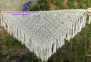 100% De Qualité Chale Etole Crochet Fait Main Creation S Raisonnier Artisanat Francais Ecru Clai Clair Et Distinctif