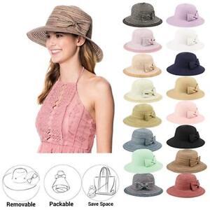 f3e8008bf Details about Women's UPF50 Foldable Packable Summer Sun Beach Straw Hat Cap